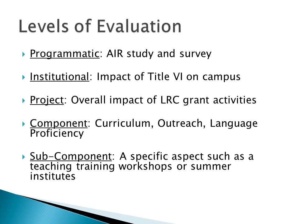  Programmatic: AIR study and survey  Institutional: Impact of Title VI on campus  Project: Overall impact of LRC grant activities  Component: Curriculum, Outreach, Language Proficiency  Sub-Component: A specific aspect such as a teaching training workshops or summer institutes
