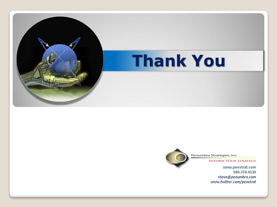 Thank You www.penstrat.com 949.374.4130 steve@penumbra.com www.twitter.com/penstrat