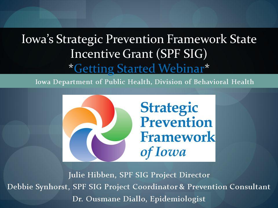 Julie Hibben, SPF SIG Project Director Debbie Synhorst, SPF SIG Project Coordinator & Prevention Consultant Dr.