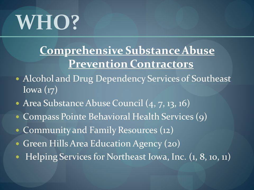 WHO? Comprehensive Substance Abuse Prevention Contractors Alcohol and Drug Dependency Services of Southeast Iowa (17) Area Substance Abuse Council (4,