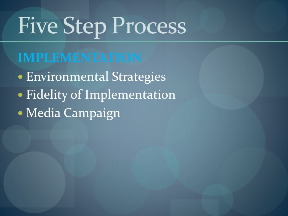 Five Step Process IMPLEMENTATION Environmental Strategies Fidelity of Implementation Media Campaign