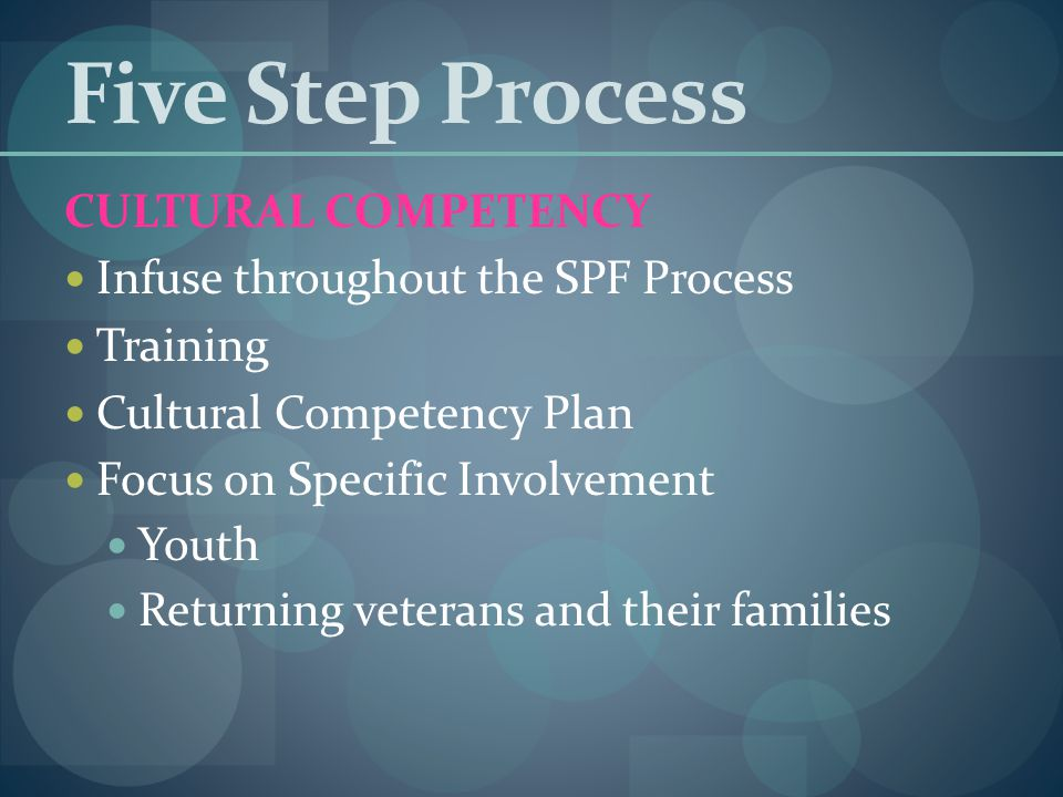 Five Step Process CULTURAL COMPETENCY Infuse throughout the SPF Process Training Cultural Competency Plan Focus on Specific Involvement Youth Returning veterans and their families