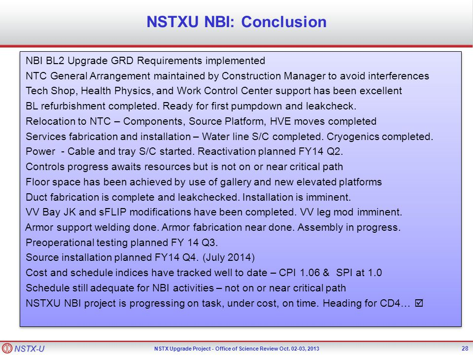 NSTX-U NSTX Upgrade Project - Office of Science Review Oct.