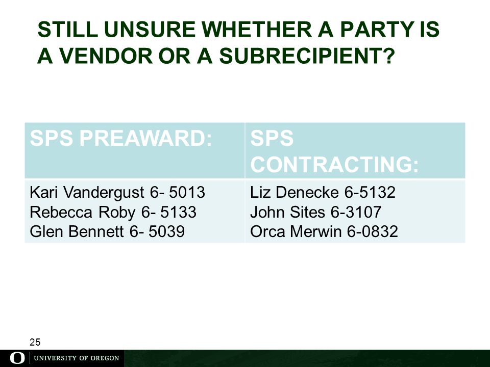 25 STILL UNSURE WHETHER A PARTY IS A VENDOR OR A SUBRECIPIENT.