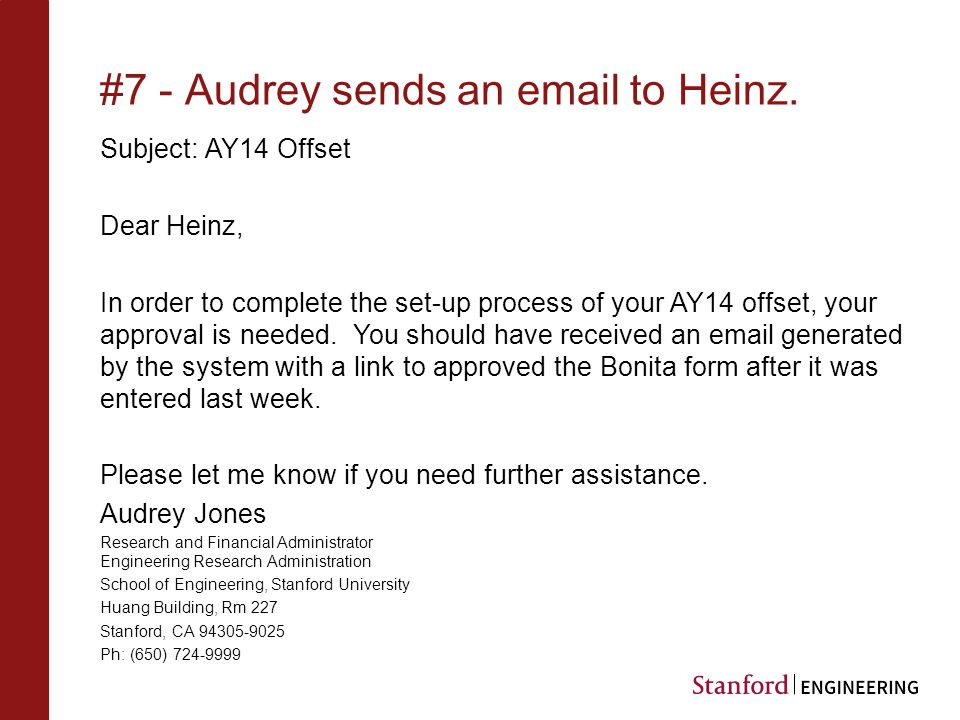 #7 - Audrey sends an email to Heinz.