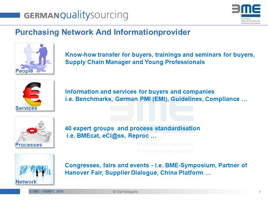 © BME / AMMPL 2014 © Olaf Holzgrefe Purchasing Network And Informationprovider 7 Processes Services Network People Know-how transfer for buyers, trainings and seminars for buyers, Supply Chain Manager and Young Professionals Information and services for buyers and companies i.e.