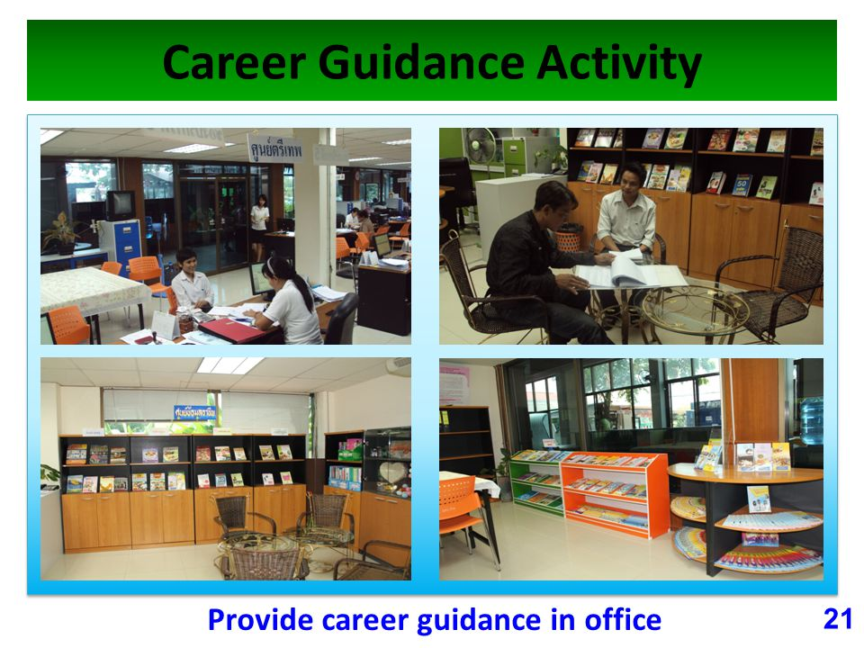 Career Guidance Activity 21 Provide career guidance in office