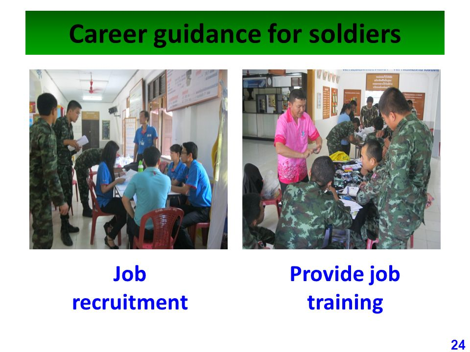 Career guidance for soldiers 24 Job recruitment Provide job training