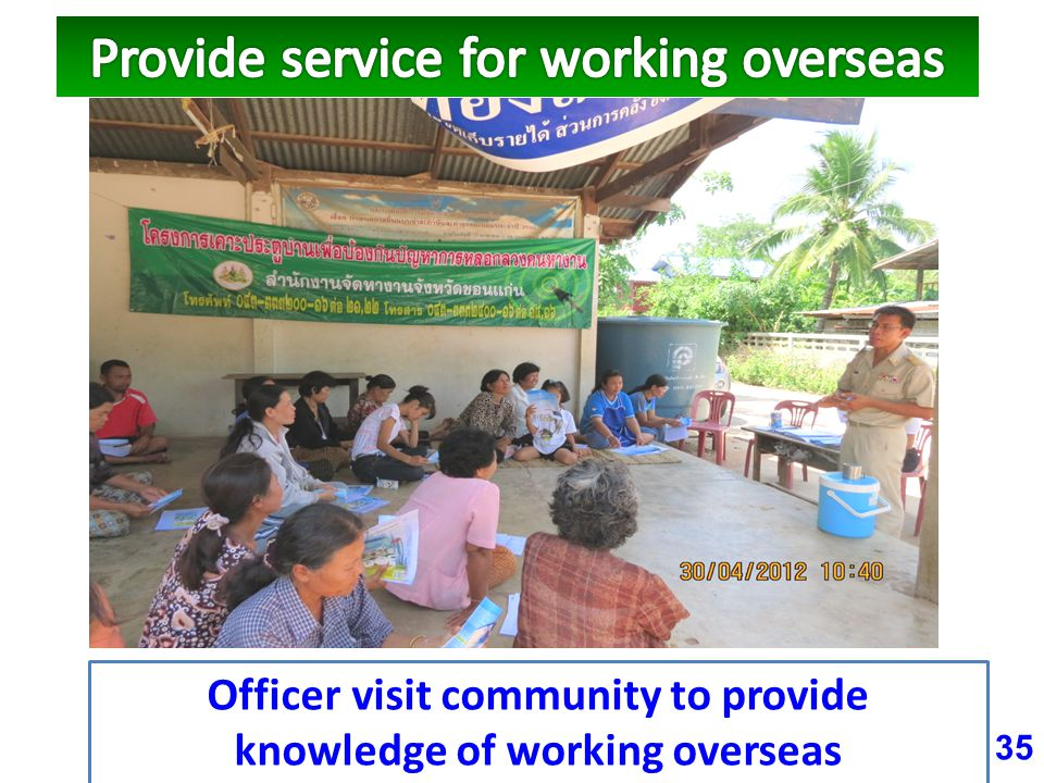 35 Officer visit community to provide knowledge of working overseas