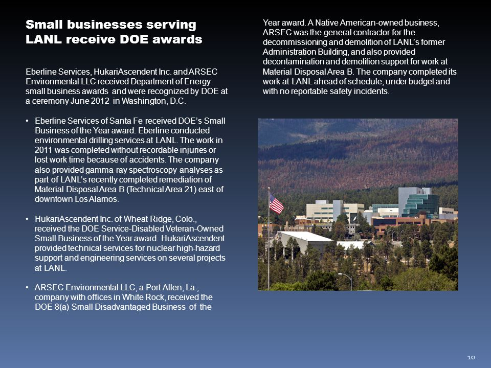 10 Small businesses serving LANL receive DOE awards Eberline Services, HukariAscendent Inc.