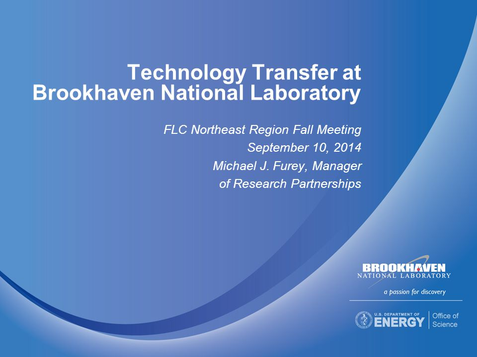 Technology Transfer at Brookhaven National Laboratory FLC Northeast Region Fall Meeting September 10, 2014 Michael J.