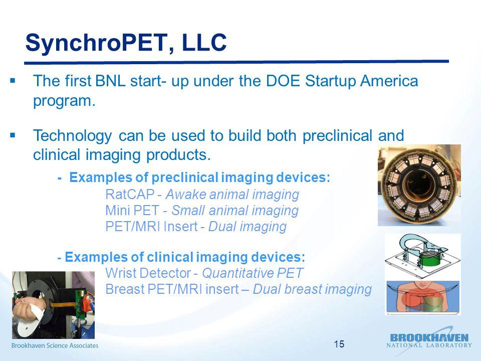 SynchroPET, LLC  The first BNL start- up under the DOE Startup America program.