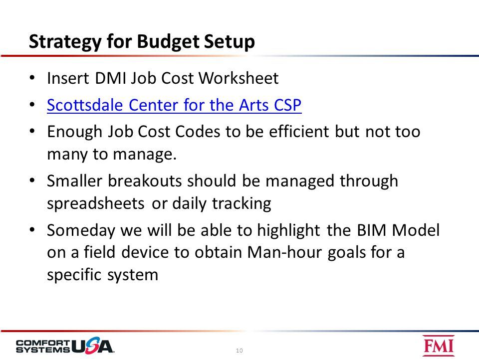 Strategy for Budget Setup Insert DMI Job Cost Worksheet Scottsdale Center for the Arts CSP Enough Job Cost Codes to be efficient but not too many to m