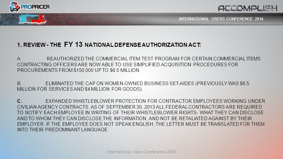 1. REVIEW - THE FY 13 NATIONAL DEFENSE AUTHORIZATION ACT: A.