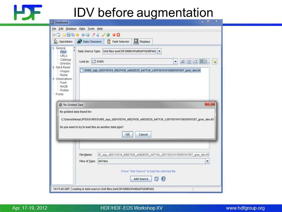 www.hdfgroup.org IDV before augmentation Apr. 17-19, 2012HDF/HDF-EOS Workshop XV