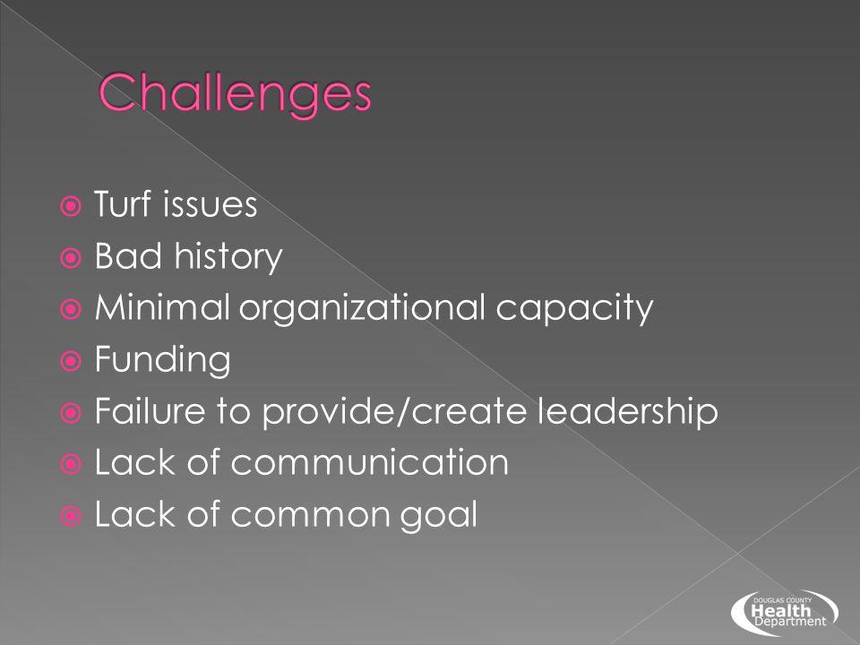  Turf issues  Bad history  Minimal organizational capacity  Funding  Failure to provide/create leadership  Lack of communication  Lack of common goal