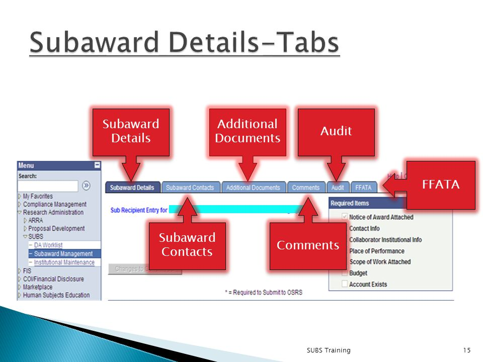 SUBS Training15 Subaward Details Subaward Details Additional Documents Audit Subaward Contacts Comments FFATA