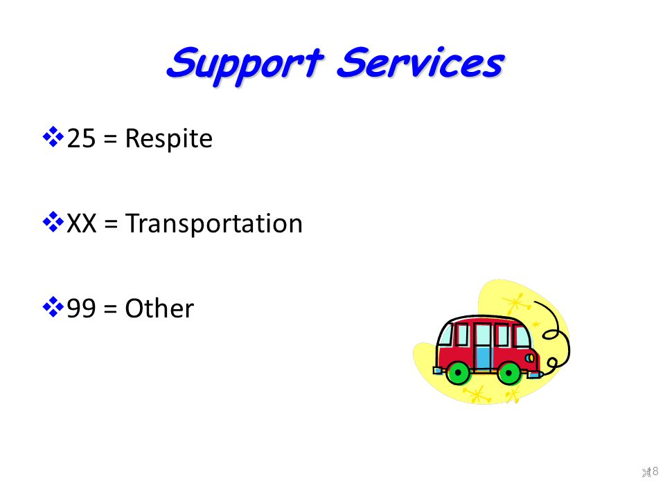 Support Services  25 = Respite  XX = Transportation  99 = Other  18