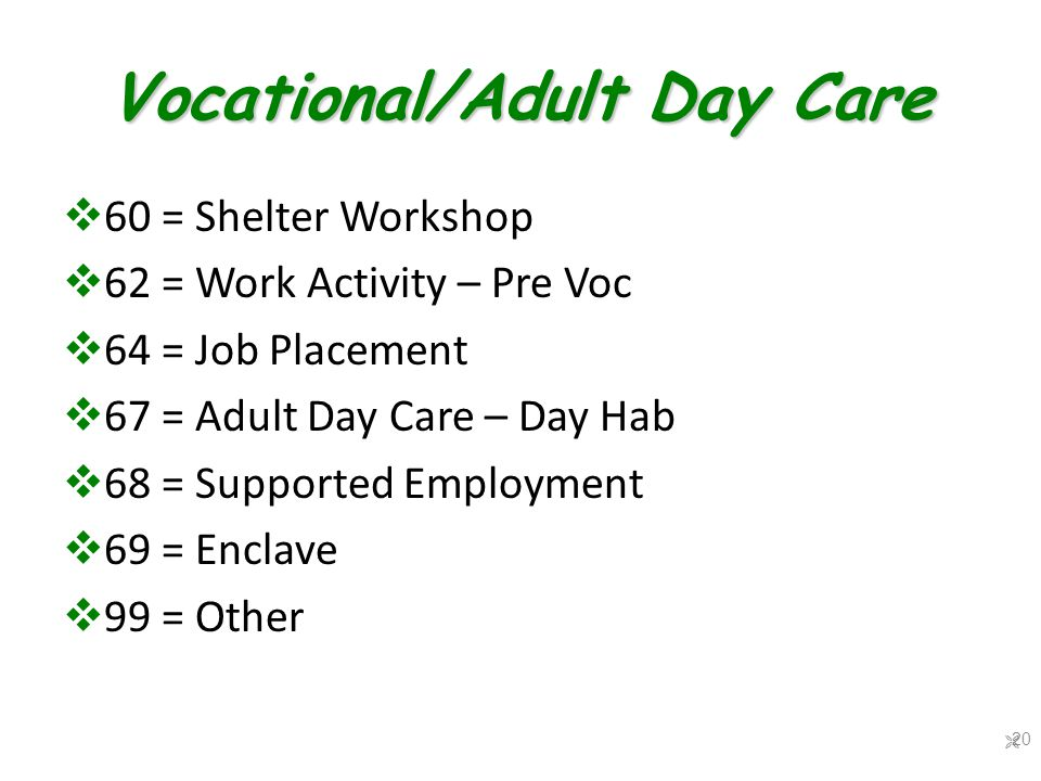 Vocational/Adult Day Care  60 = Shelter Workshop  62 = Work Activity – Pre Voc  64 = Job Placement  67 = Adult Day Care – Day Hab  68 = Supported Employment  69 = Enclave  99 = Other  20