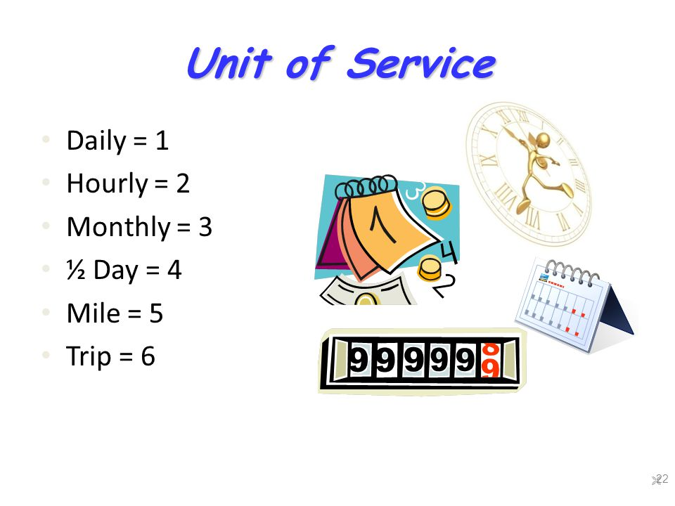 Unit of Service Daily = 1 Hourly = 2 Monthly = 3 ½ Day = 4 Mile = 5 Trip = 6  22