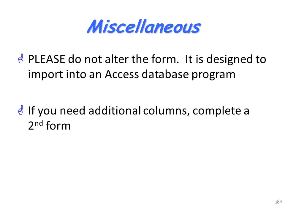 Miscellaneous  PLEASE do not alter the form.