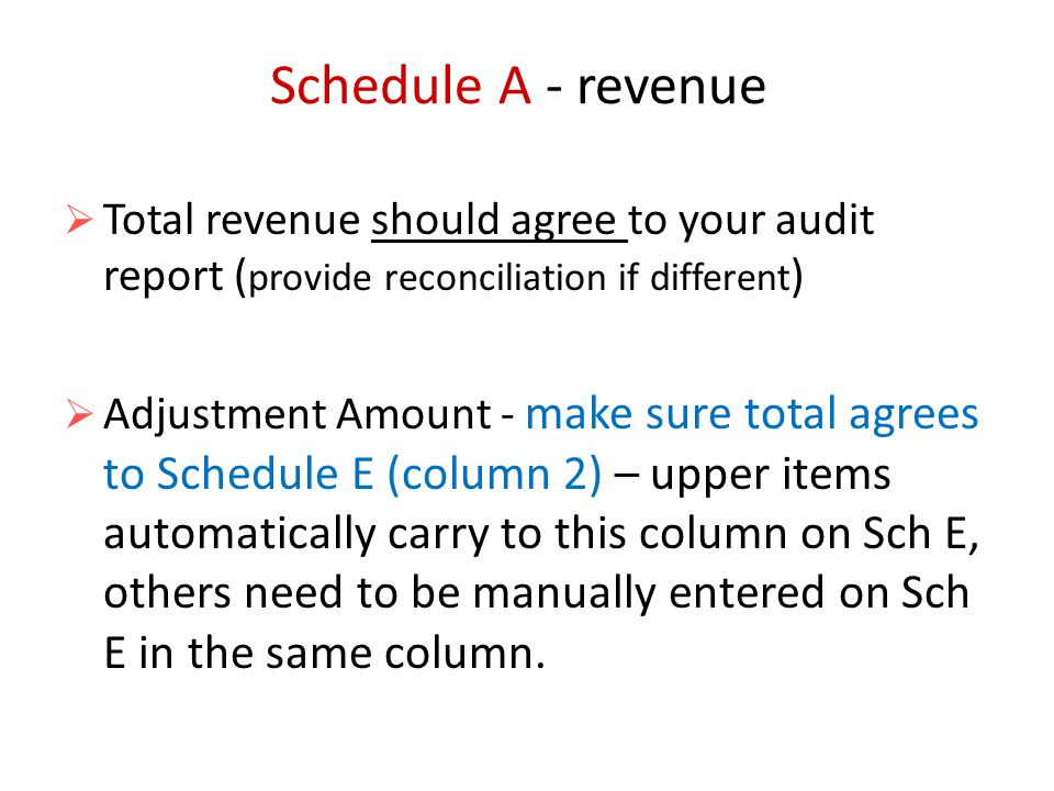 Schedule A - revenue  Total revenue should agree to your audit report ( provide reconciliation if different )  Adjustment Amount - make sure total agrees to Schedule E (column 2) – upper items automatically carry to this column on Sch E, others need to be manually entered on Sch E in the same column.