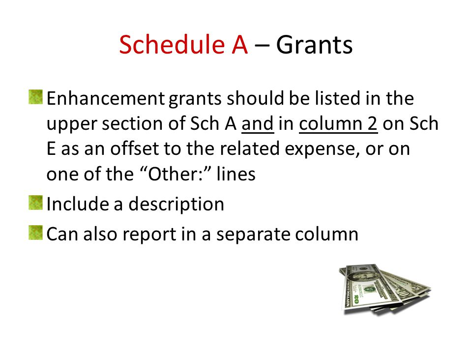 Schedule A – Grants Enhancement grants should be listed in the upper section of Sch A and in column 2 on Sch E as an offset to the related expense, or on one of the Other: lines Include a description Can also report in a separate column