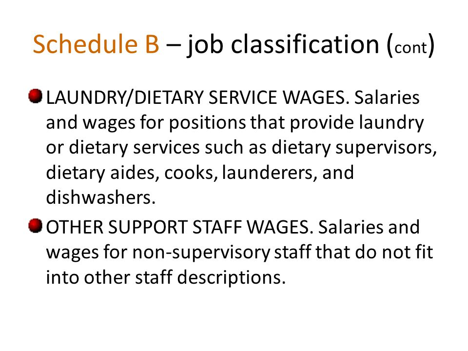 Schedule B – job classification ( cont ) LAUNDRY/DIETARY SERVICE WAGES.