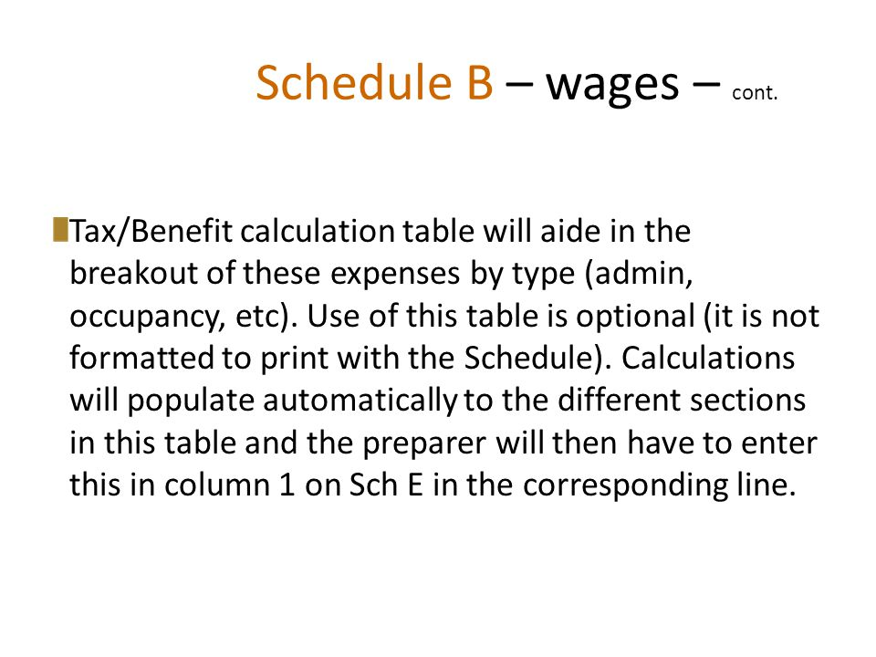 Schedule B – wages – cont.