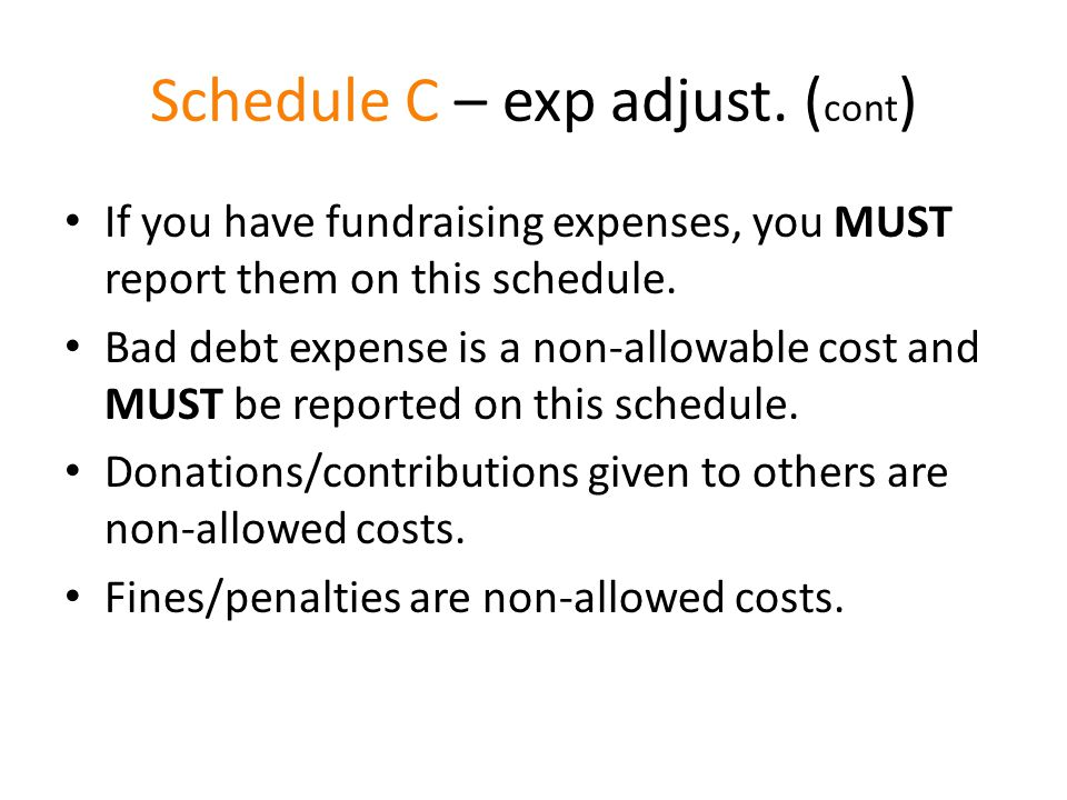Schedule C – exp adjust.