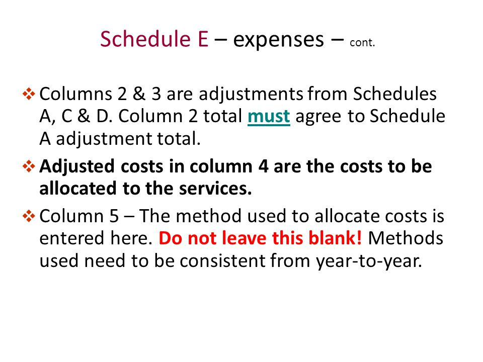 Schedule E – expenses – cont.  Columns 2 & 3 are adjustments from Schedules A, C & D.