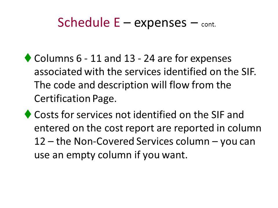 Schedule E – expenses – cont.