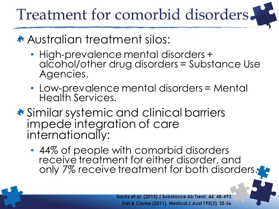 Treatment for comorbid disorders Australian treatment silos: High-prevalence mental disorders + alcohol/other drug disorders = Substance Use Agencies.