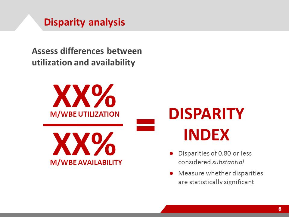 Disparity analysis 6 Assess differences between utilization and availability XX% M/WBE UTILIZATION XX% M/WBE AVAILABILITY DISPARITY INDEX ● Disparities of 0.80 or less considered substantial ● Measure whether disparities are statistically significant