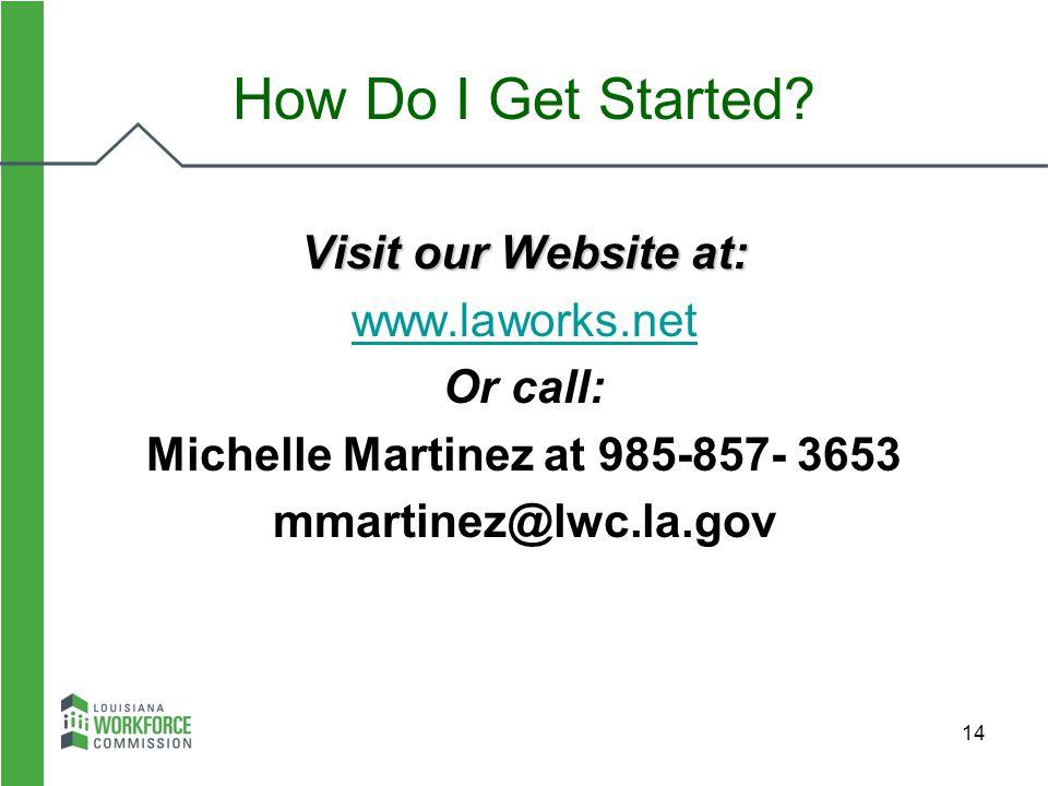 14 Visit our Website at: www.laworks.net Or call: Michelle Martinez at 985-857- 3653 mmartinez@lwc.la.gov How Do I Get Started?