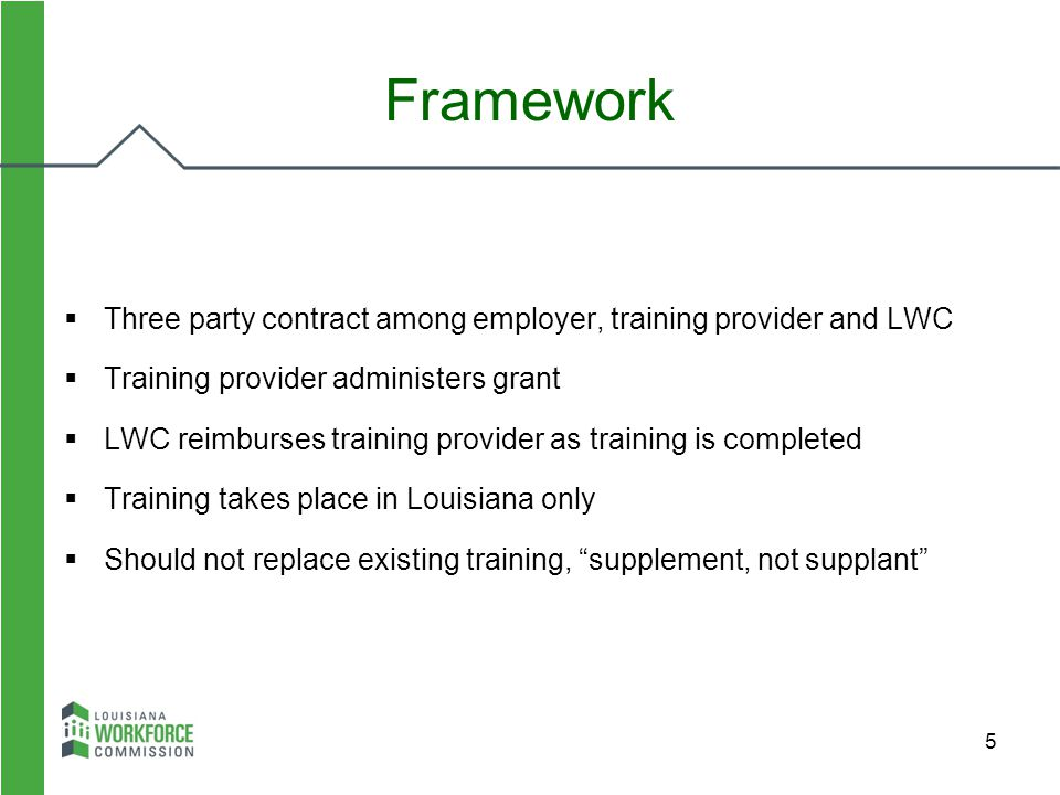 5  Three party contract among employer, training provider and LWC  Training provider administers grant  LWC reimburses training provider as trainin
