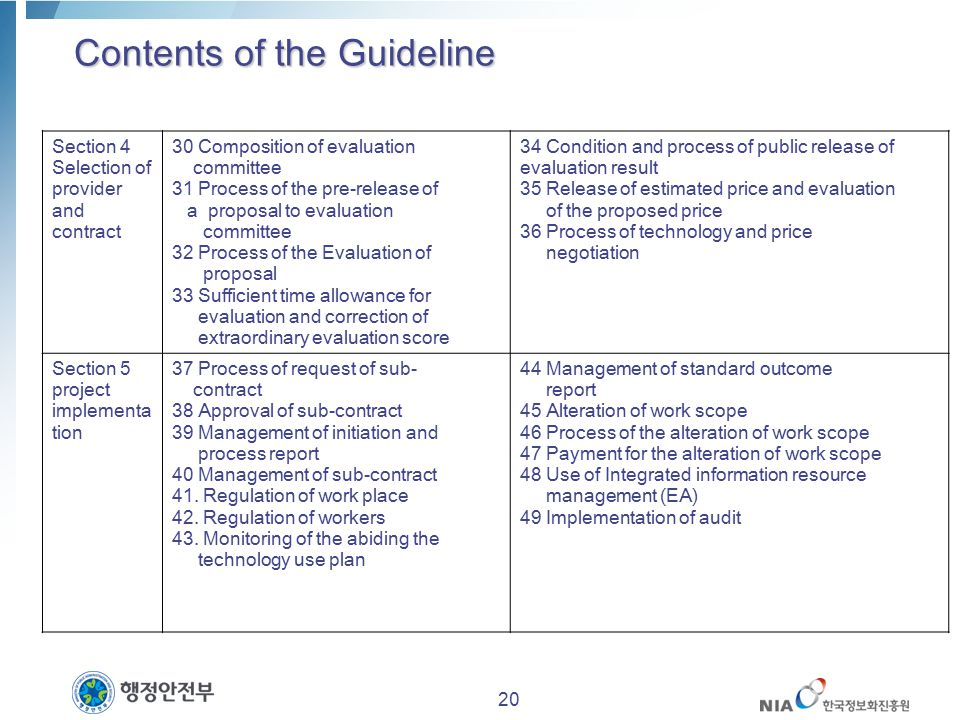Contents of the Guideline Section 4 Selection of provider and contract 30 Composition of evaluation committee 31 Process of the pre-release of a propo