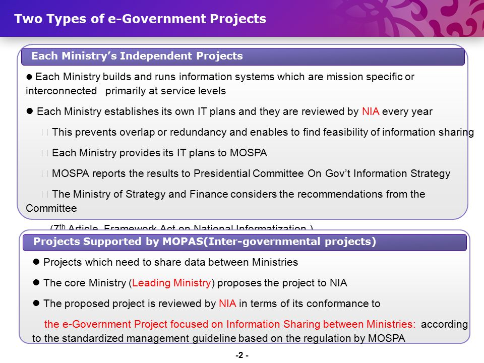 Each Ministry's Independent Projects Each Ministry builds and runs information systems which are mission specific or interconnected primarily at servi