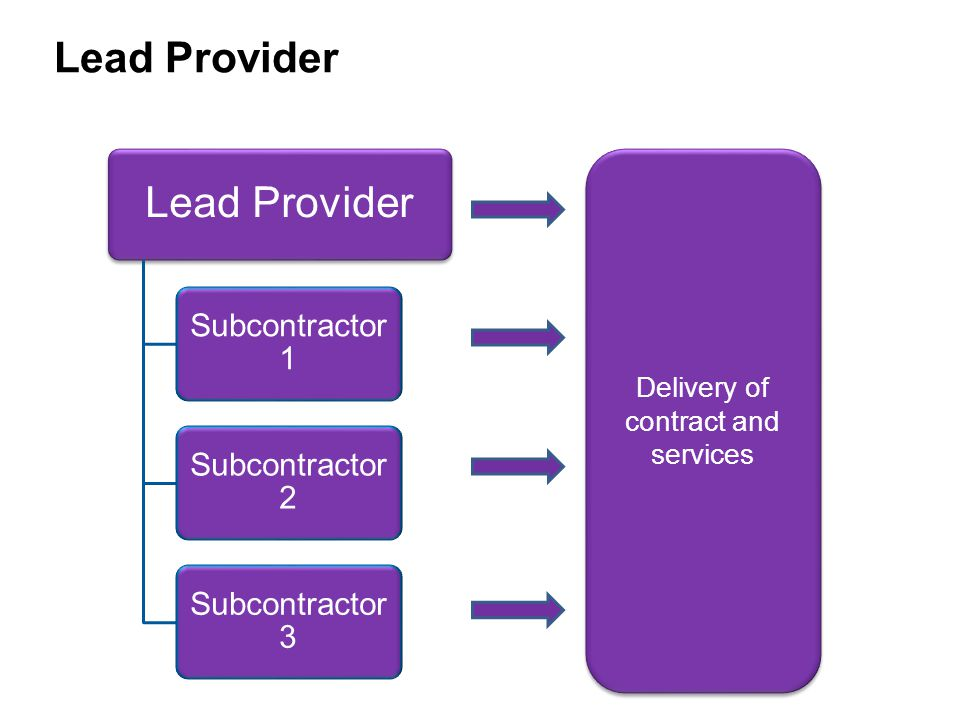 Lead organisation applies for contract funding on behalf of consortium members Uses some of the funding to deliver services and to manage contract Distributes rest to other members in exchange for delivering parts of the service Risk is managed by the lead organisation