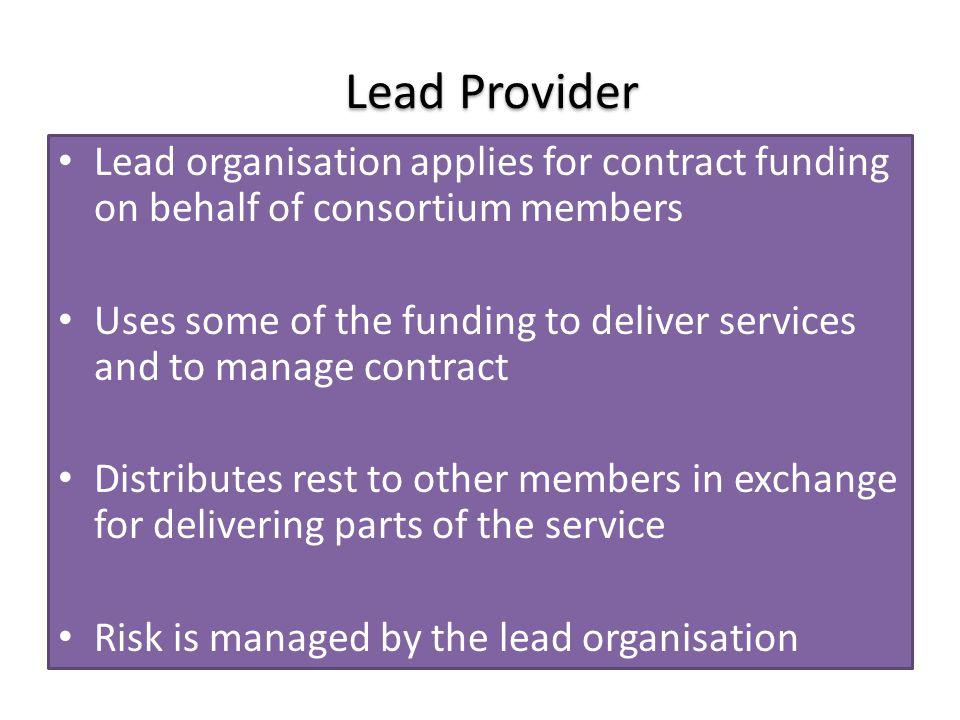 Prime/ Managing Agent Subcontractor 1 Subcontractor 2 Subcontractor 3 Delivery of contract and services Prime Contractor / Managing Agent