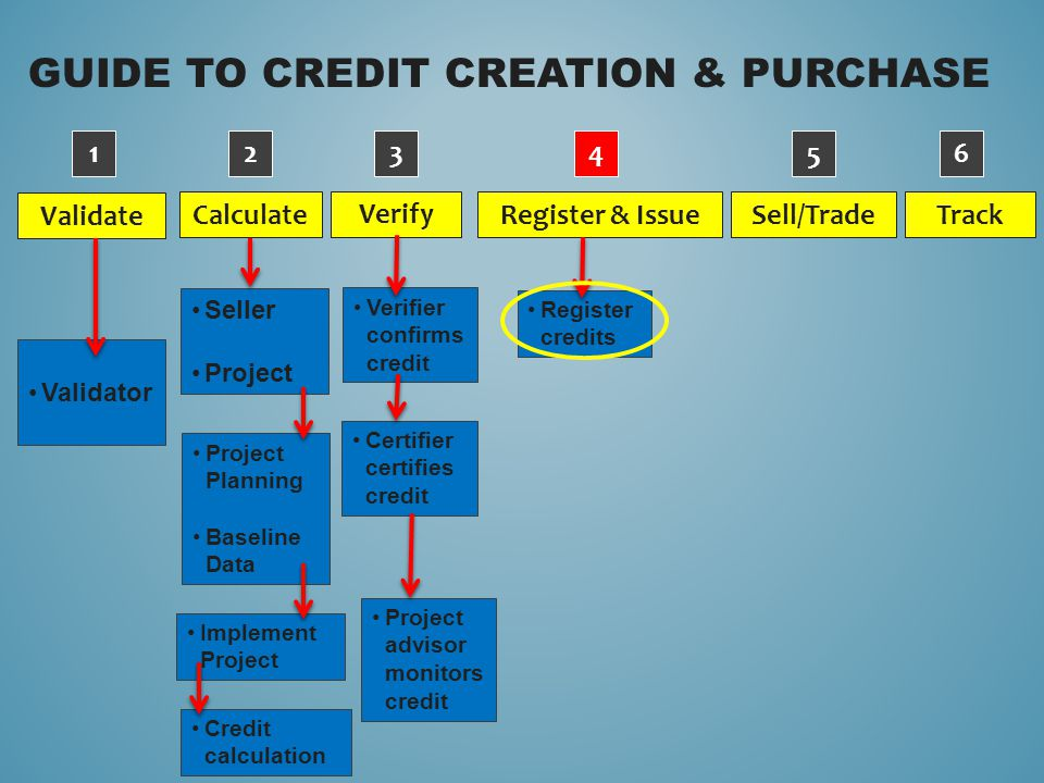 GUIDE TO CREDIT CREATION & PURCHASE Validate Verify Calculate Sell/Trade Register & Issue Track Validator 1234 5 6 Verifier confirms credit Certifier certifies credit Project advisor monitors credit Register credits Project Planning Baseline Data Implement Project Credit calculation Seller Project