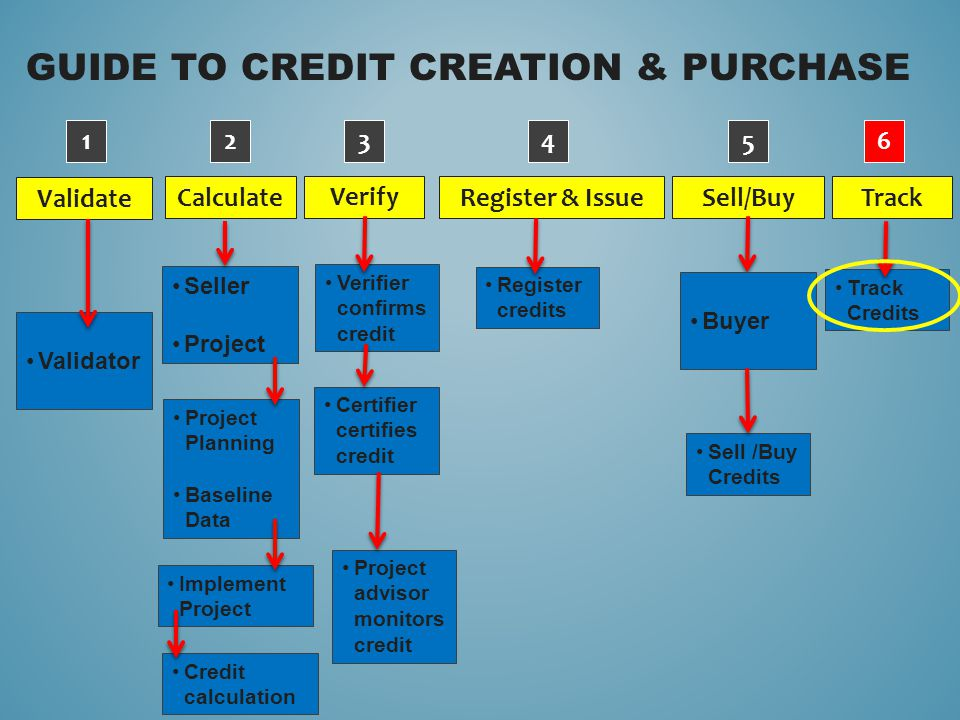 GUIDE TO CREDIT CREATION & PURCHASE Validate Verify Calculate Sell/Buy Register & Issue Track Validator 1234 5 6 Verifier confirms credit Certifier ce