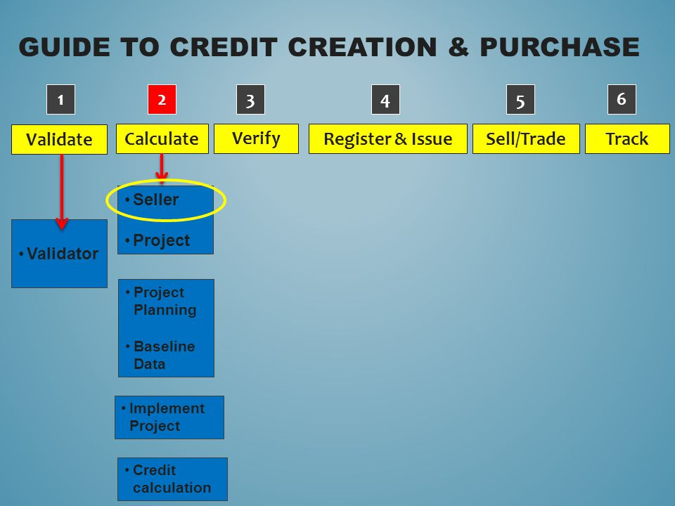 GUIDE TO CREDIT CREATION & PURCHASE Validate Verify Calculate Sell/Trade Register & Issue Track Validator 1234 5 6 Project Planning Baseline Data Implement Project Credit calculation Seller Project