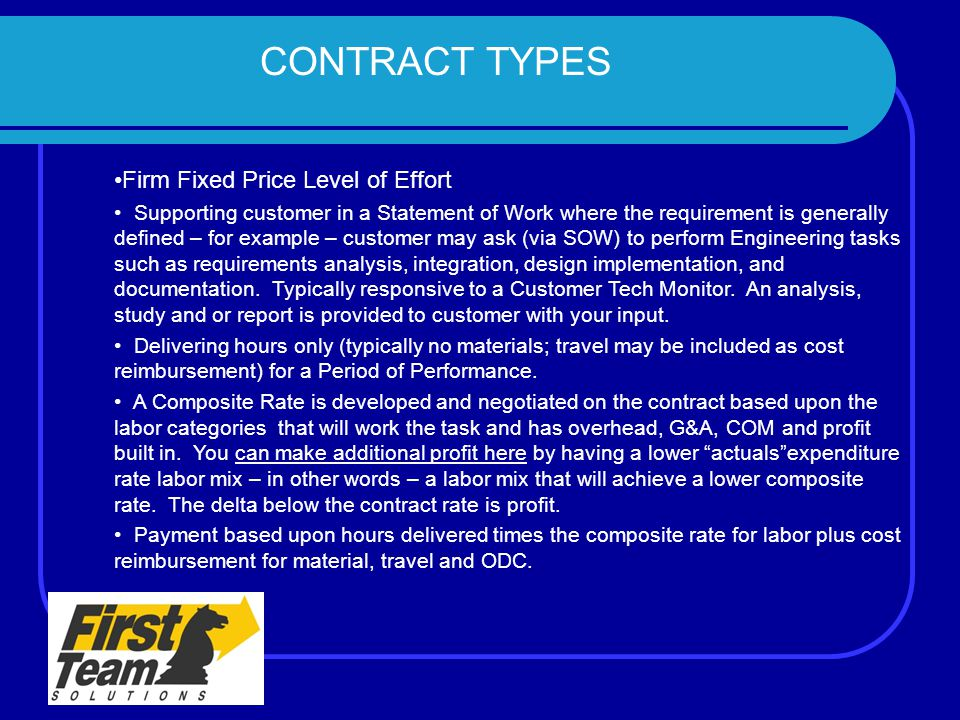 CONTRACT TYPES Firm Fixed Price Level of Effort Supporting customer in a Statement of Work where the requirement is generally defined – for example –