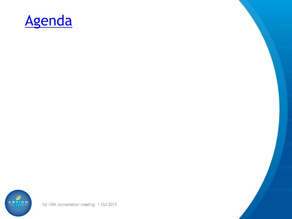 Agenda 1st VRA concertation meeting, 1 Oct 2013