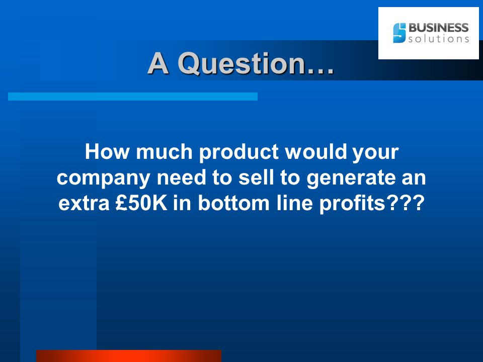 A Question… How much product would your company need to sell to generate an extra £50K in bottom line profits