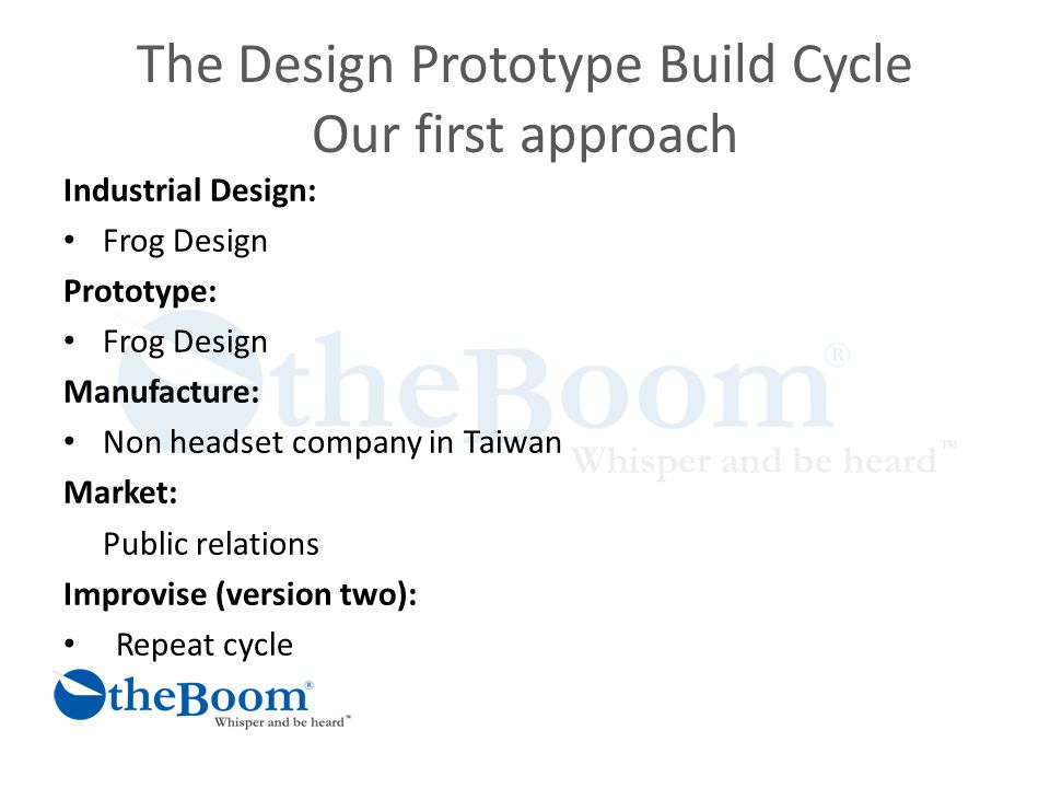 The Design Prototype Build Cycle Our first approach Industrial Design: Frog Design Prototype: Frog Design Manufacture: Non headset company in Taiwan Market: Public relations Improvise (version two): Repeat cycle