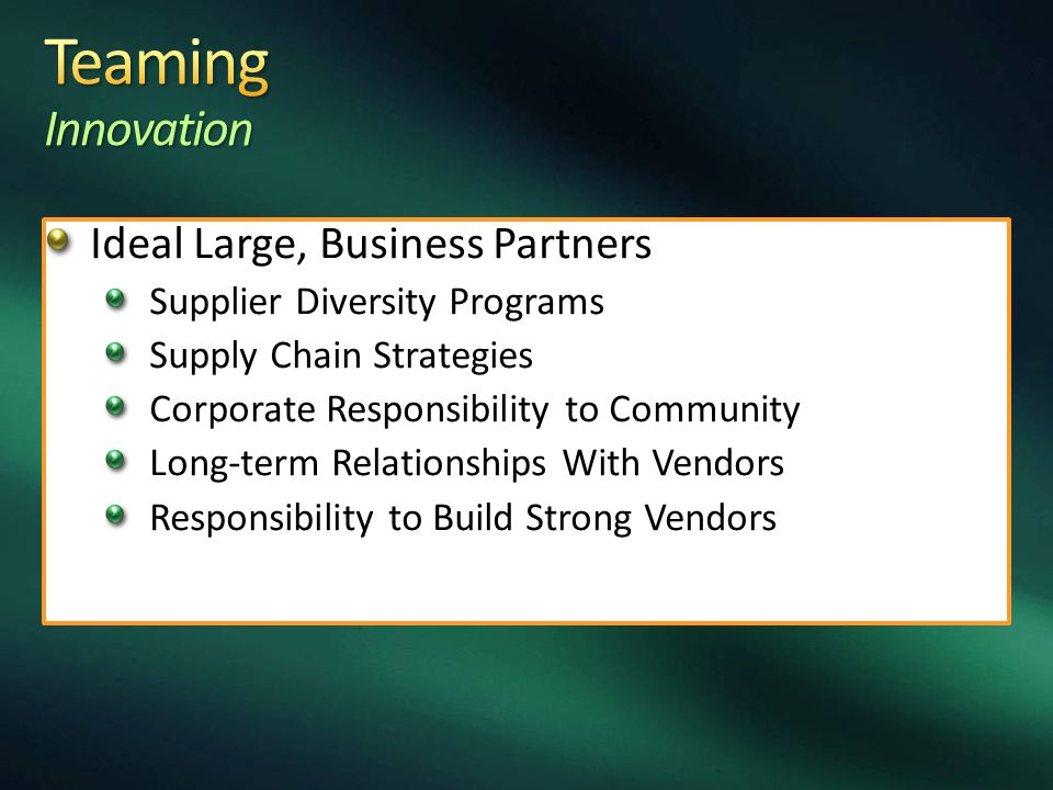 Large B2B With Small Innovation Without R & B Costs (strategic) Potential Business Spinoff Partners (vision) Mentorship/Protégé Development Increase in Profits