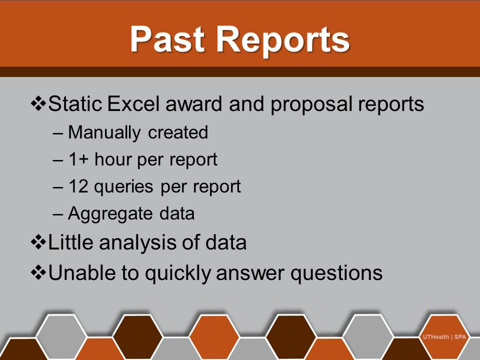 Past Reports  Static Excel award and proposal reports –Manually created –1+ hour per report –12 queries per report –Aggregate data  Little analysis of data  Unable to quickly answer questions