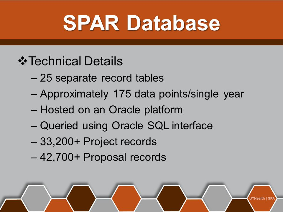  Technical Details –25 separate record tables –Approximately 175 data points/single year –Hosted on an Oracle platform –Queried using Oracle SQL interface –33,200+ Project records –42,700+ Proposal records